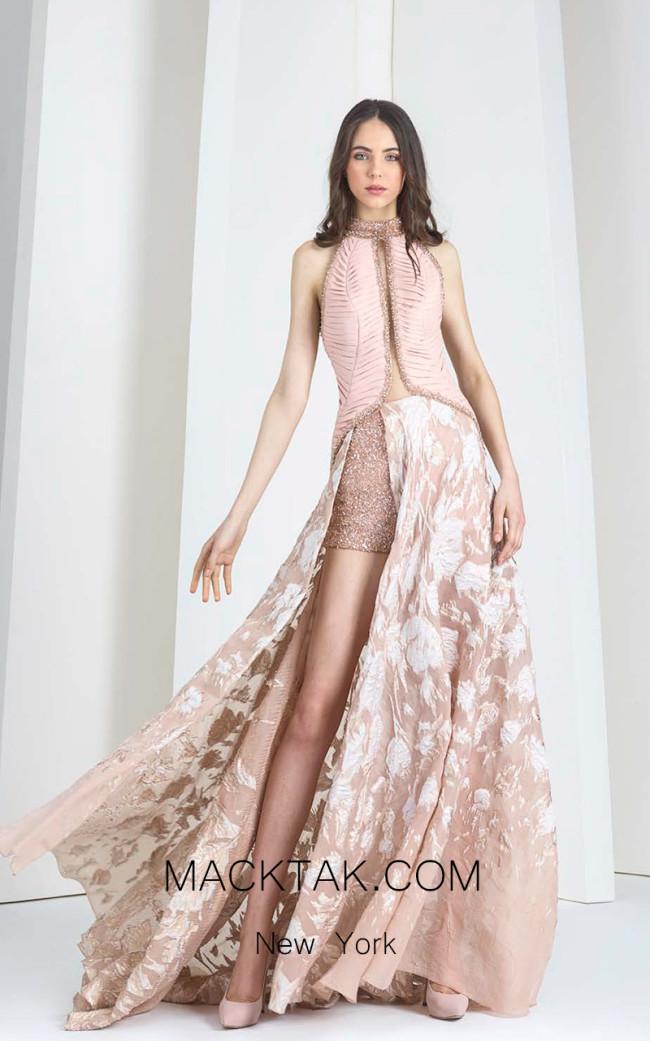 Tony Ward 13 Pink Front Evening Dress