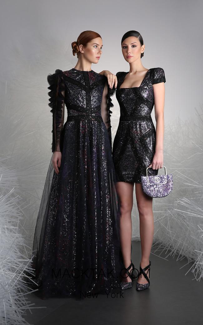 Tony Ward 15B Black Front Evening Dress