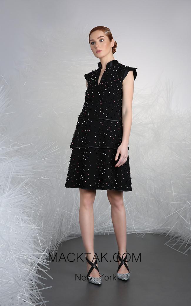 Tony Ward 18 Black Front Evening Dress