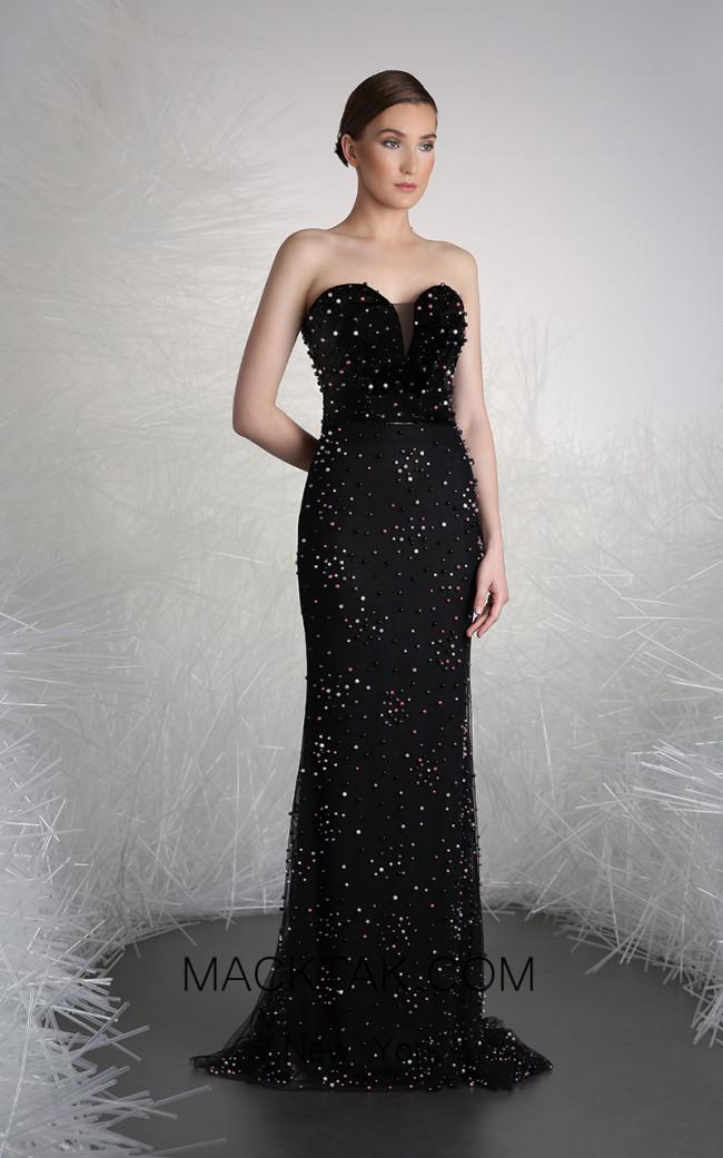 Tony Ward 19 Black Front Evening Dress