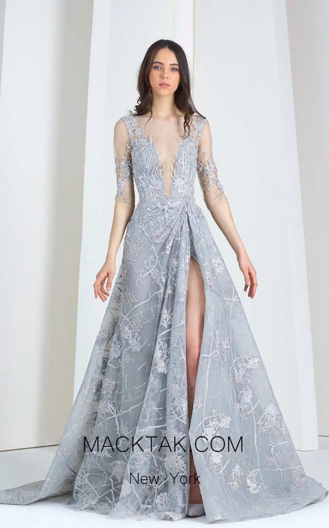 Tony Ward 21 Gray Front Evening Dress