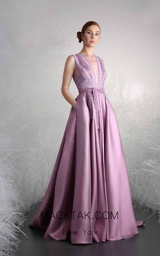 Tony Ward 28 Purple Front Evening Dress