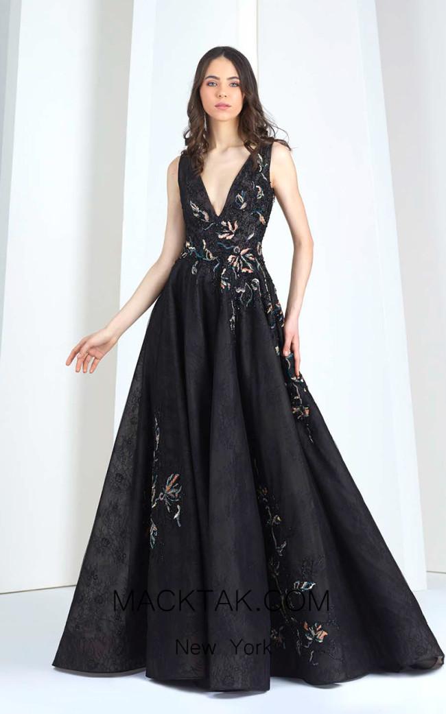 Tony Ward 29 Black Front Evening Dress
