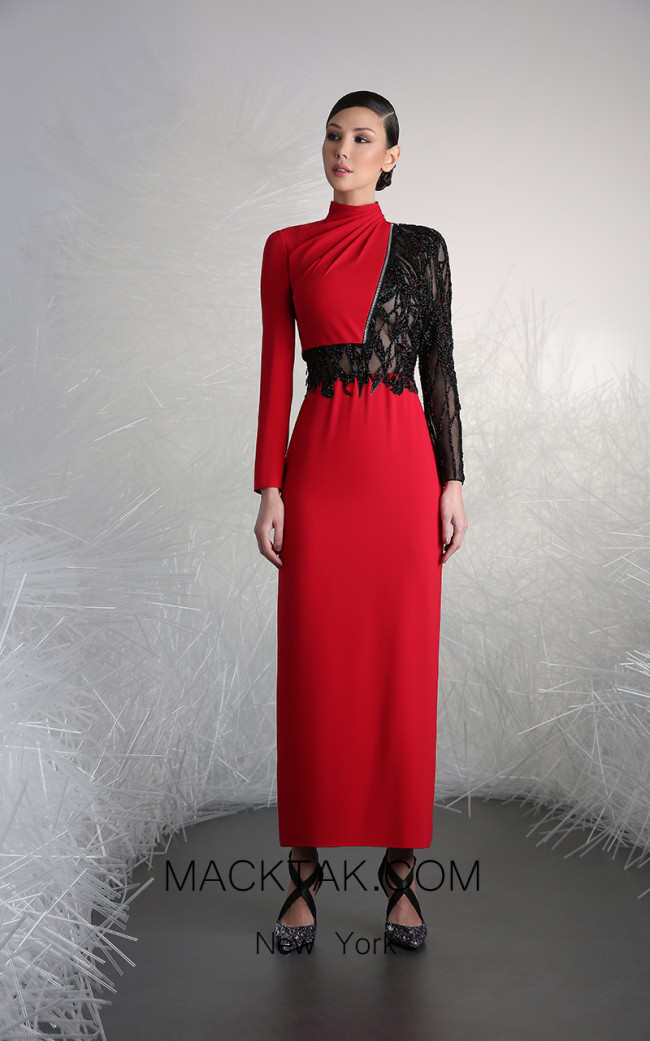 Tony Ward 2 Red Black Front Evening Dress