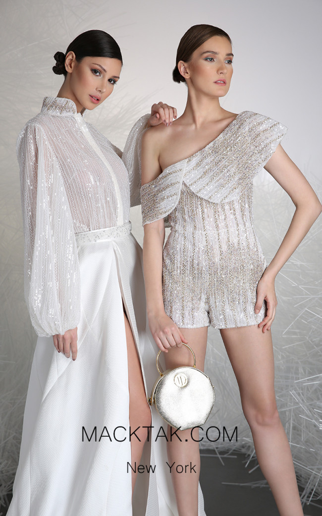 Tony Ward 32A White Front Evening Dress