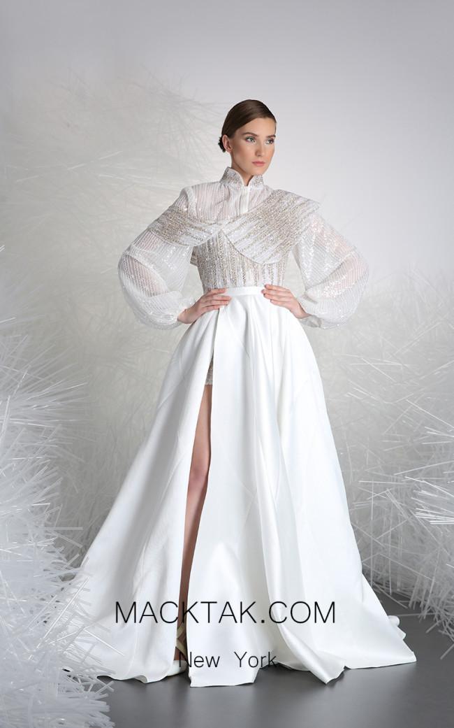 Tony Ward 33 White Front Evening Dress