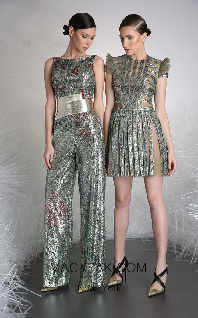 Tony Ward 40B Silver Front Evening Dress