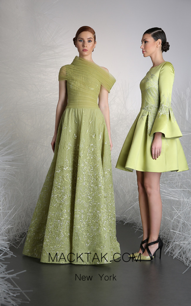 Tony Ward 43A Green Front Evening Dress