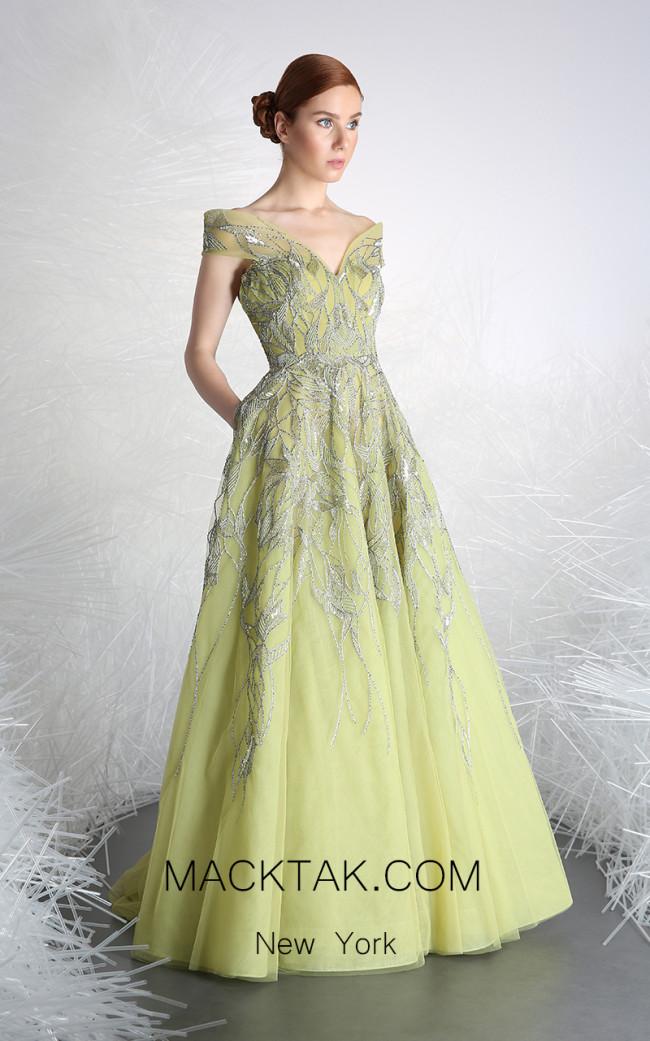 Tony Ward 44 Green Front Evening Dress
