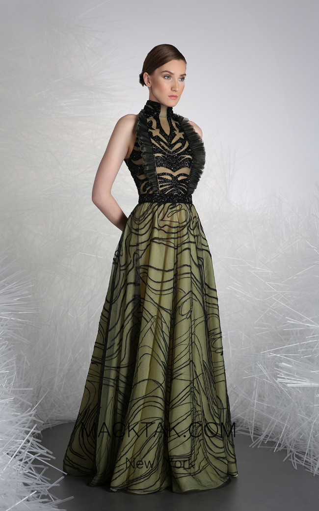Tony Ward 46 Green Front Evening Dress