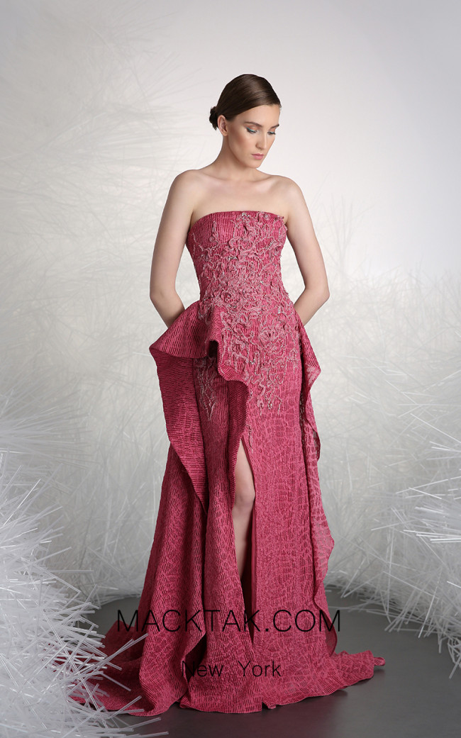Tony Ward 48 Pink Front Evening Dress