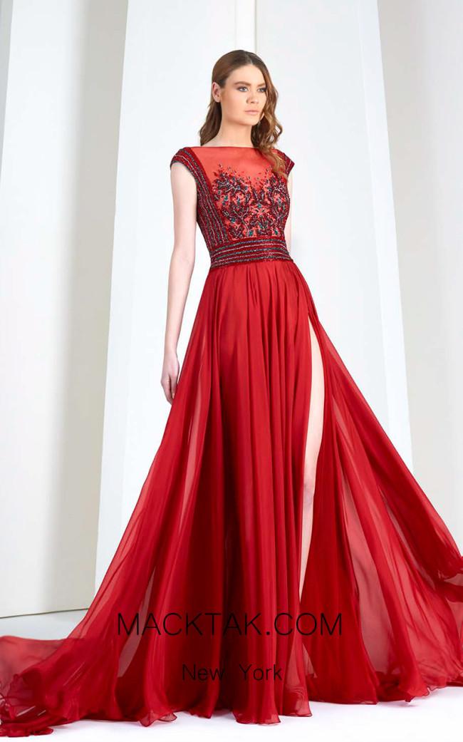 Tony Ward 51 Red Front Evening Dress