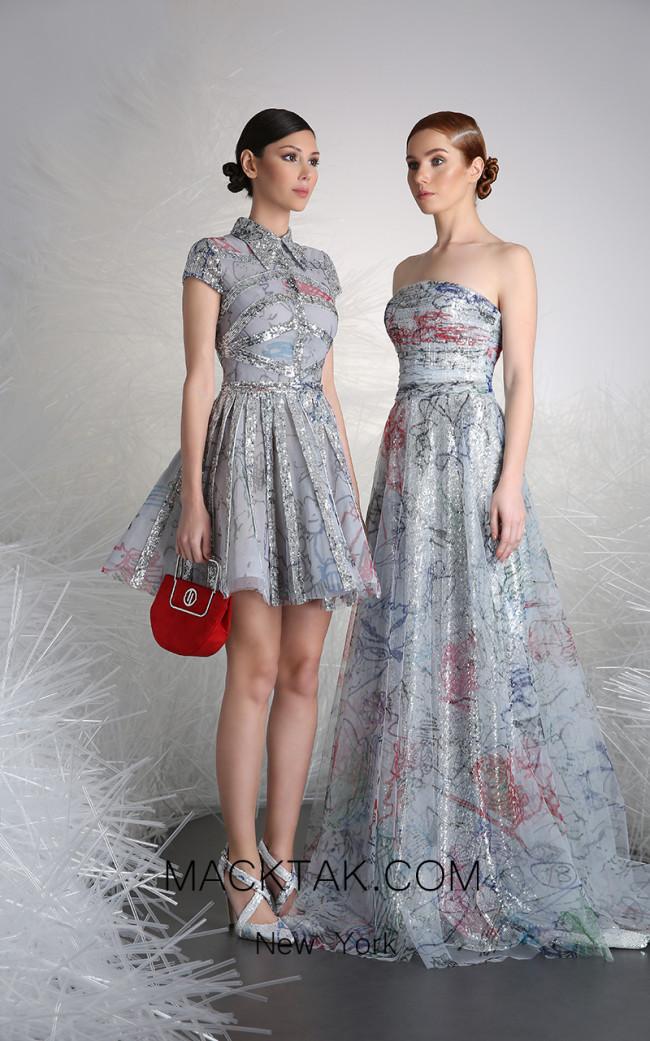 Tony Ward 7A Multi Front Evening Dress