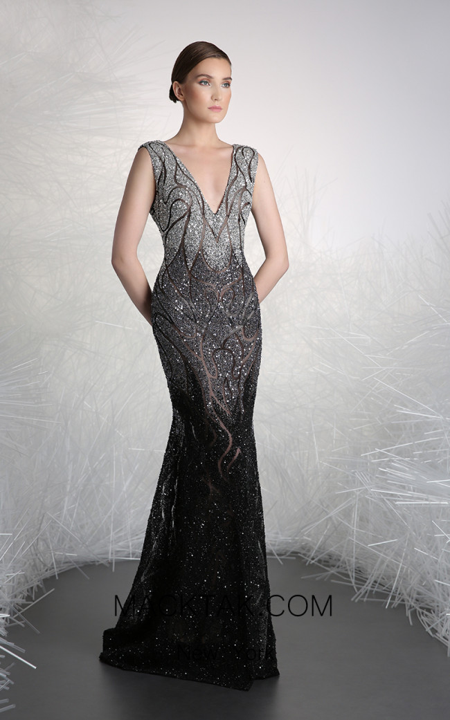 Tony Ward FW21 Black Front Evening Dress