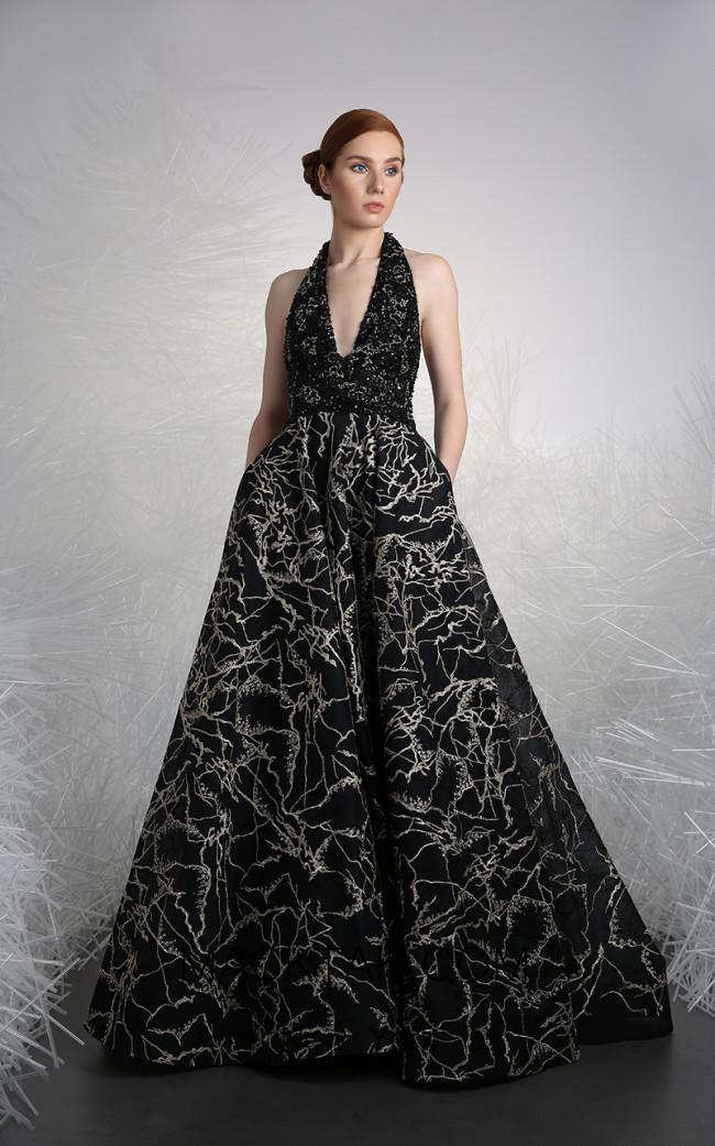 Tony Ward FW23 Black Front Evening Dress