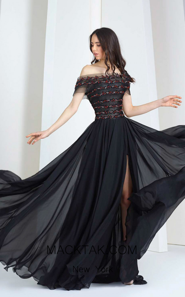 Tony Ward FW30 Black Front Evening Dress