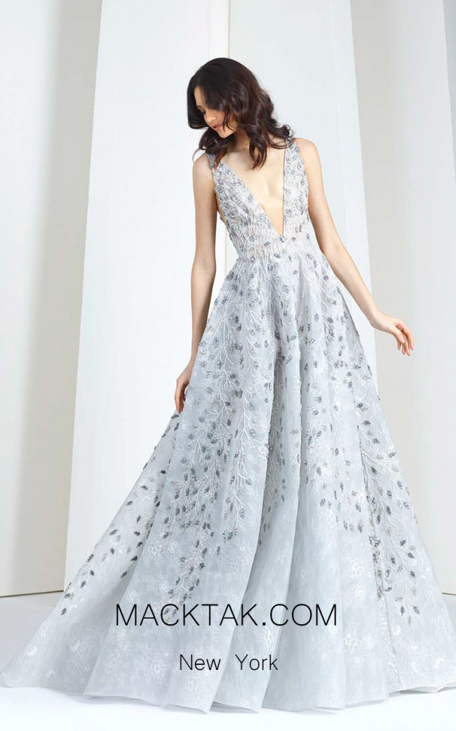 Tony Ward T18 Gray Front Evening Dress