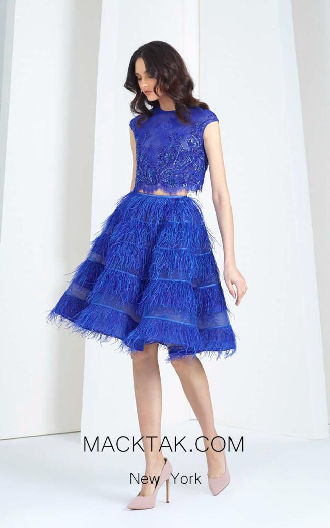 Tony Ward T35 Blue Front Evening Dress