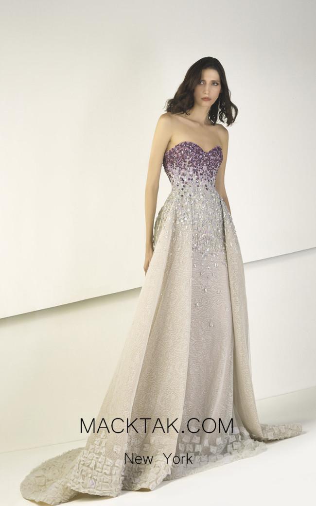 Tony Ward TW28 Purple Beige Front Evening Dress
