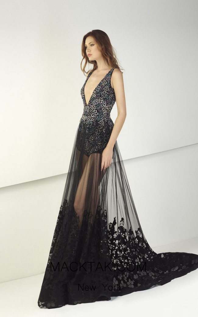 Tony Ward TW46 Black Front Evening Dress