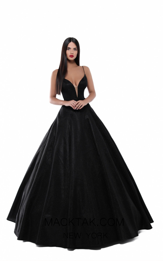 Tarik Ediz 50539 Black Front Prom Dress