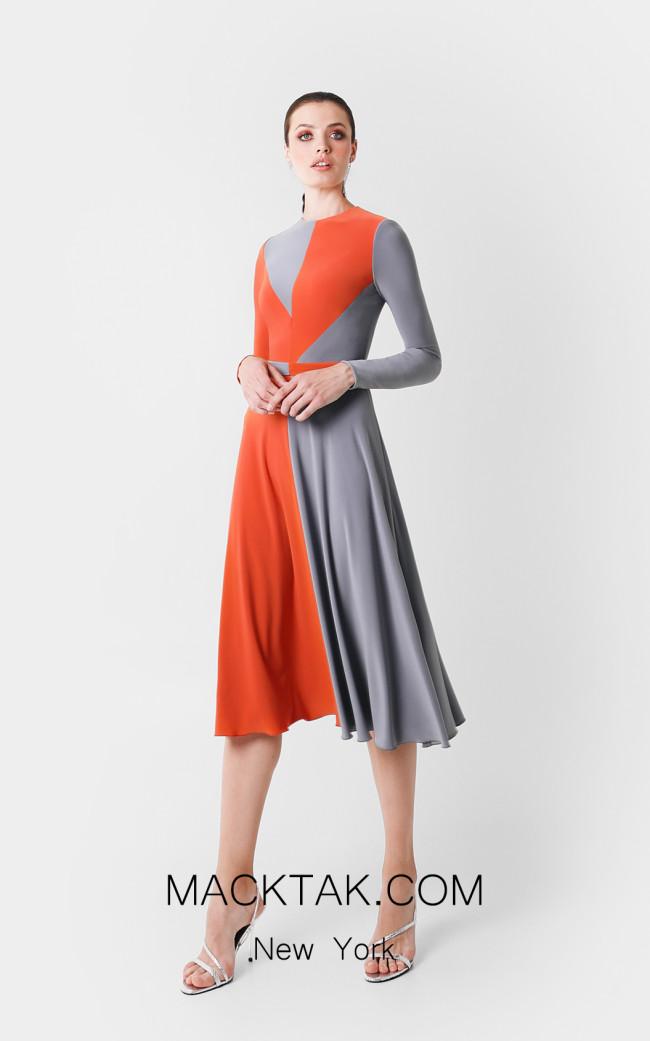 Victoria Jaly Gray Orange Front Dress
