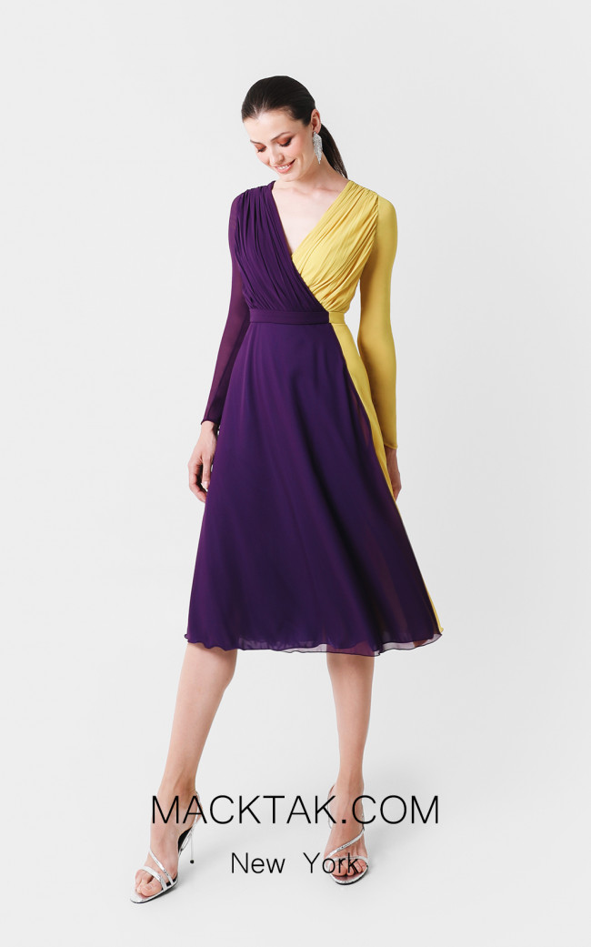 Victoria Jayla Purple Yellow Front Dress
