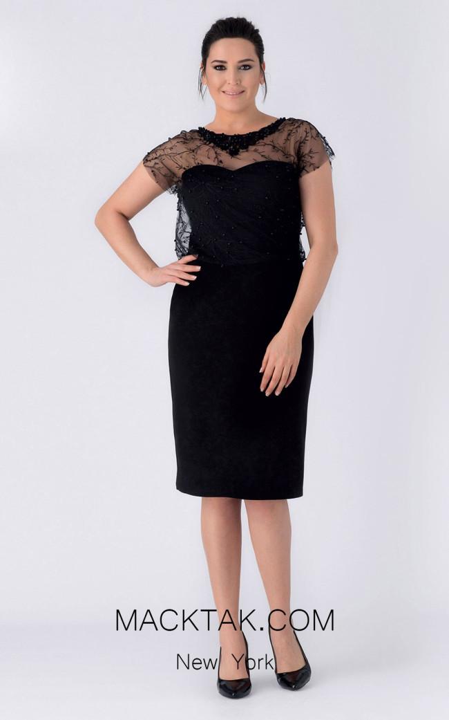 Alchera Y8180 Black Front Evening Dress
