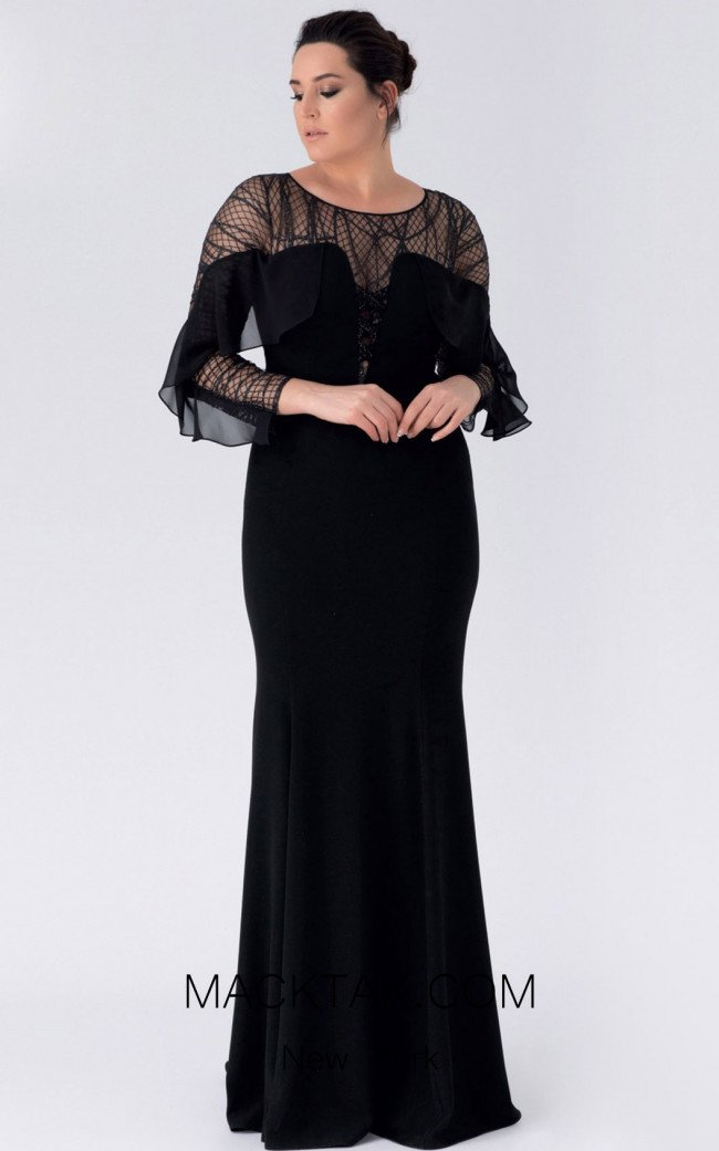 Alchera Y8251 Black Front Evening Dress