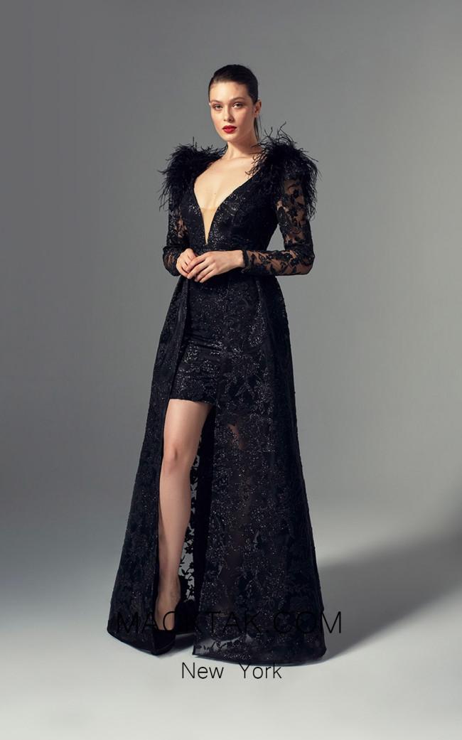 Alchera Y9679 Black Front Evening Dress