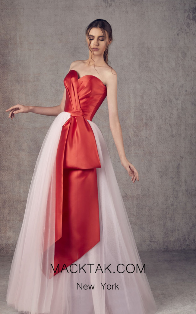 Ziad Germanos ZG1 Red Pink Front Evening Dress