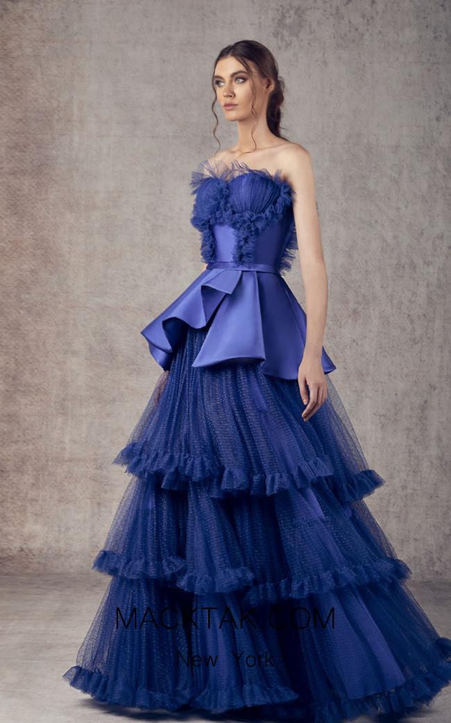 Ziad Germanos ZG10 Royal Blue Front Evening Dress