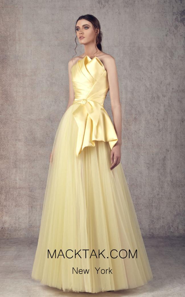 Ziad Germanos ZG17 Yellow Front Evening Dress
