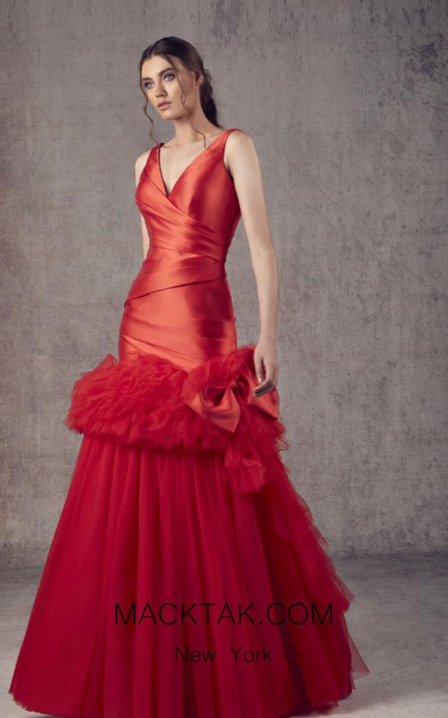 Ziad Germanos ZG2 Red Front Evening Dress