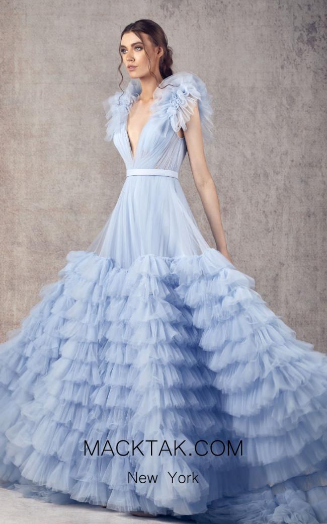 Ziad Germanos ZG21 Blue Front Evening Dress