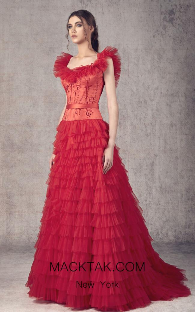 Ziad Germanos ZG3 Red Front Evening Dress