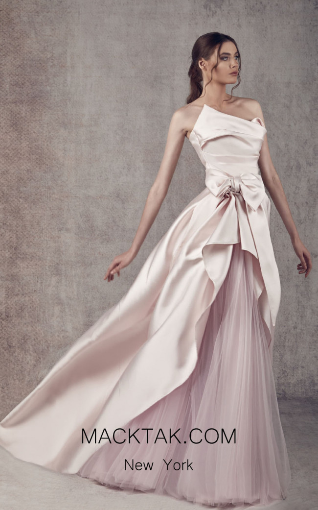 Ziad Germanos ZG6 Pink Front Evening Dress