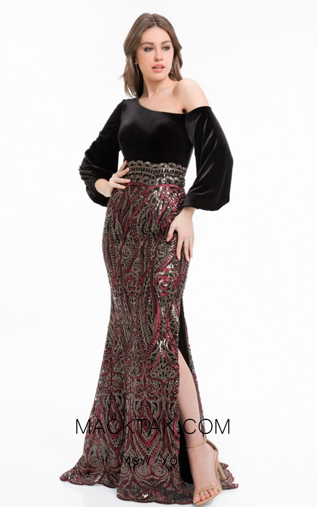 Terani 1821E7124 Wine Black Front Evening Dress