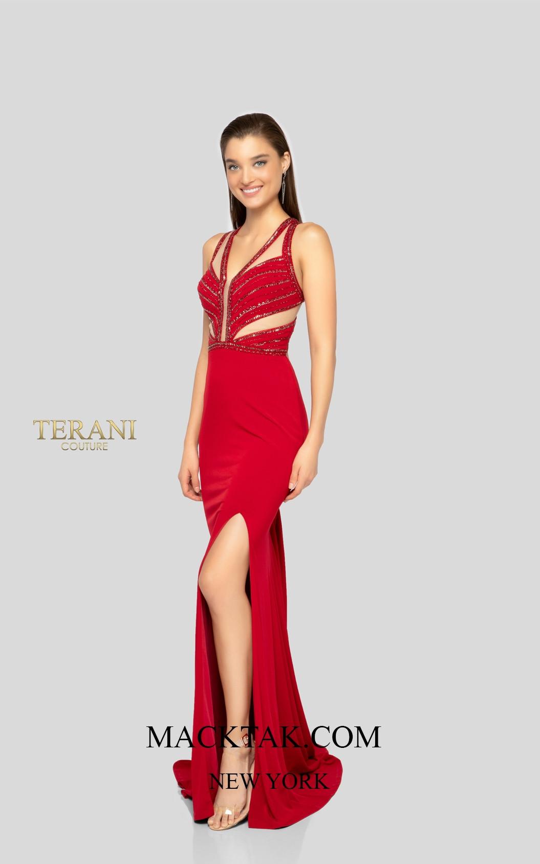 Terani 1915P8340 Dark Red Front Dress