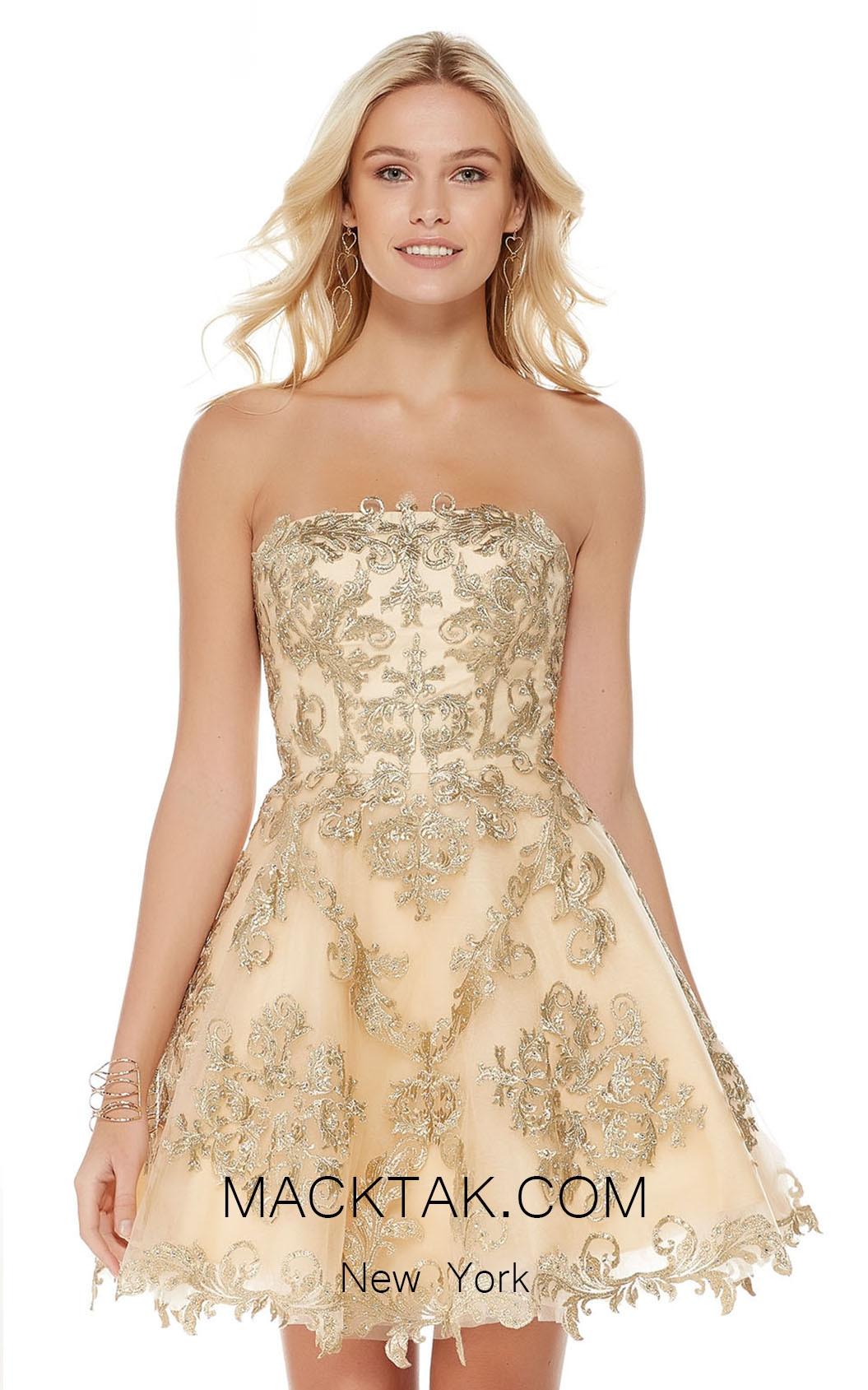 Alyce 3762 Gold Front Short Dress