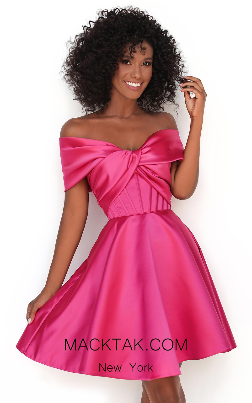 Tarik Ediz 50605 Fuchsia Front Dress