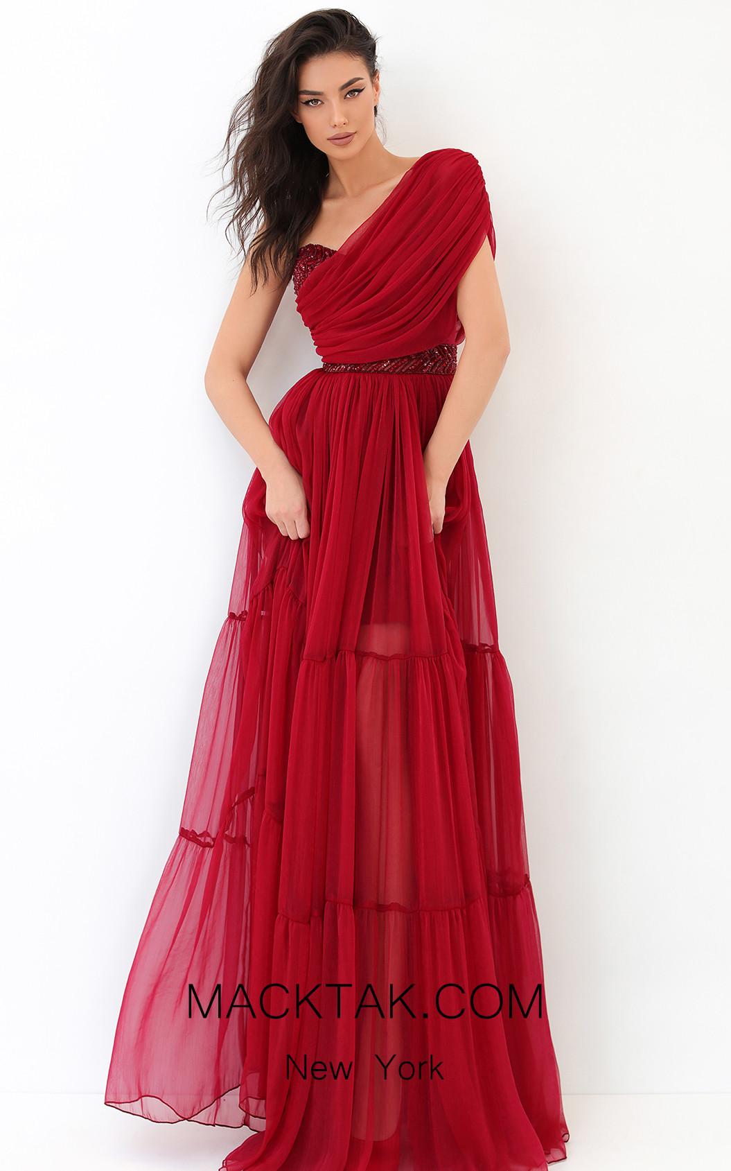 Tarik Ediz 93814 Red Front Dress
