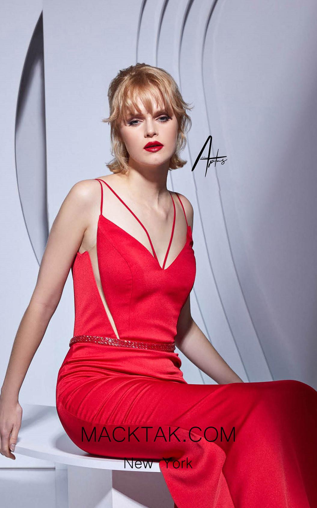 Alchera Y0532 Red Front Dress