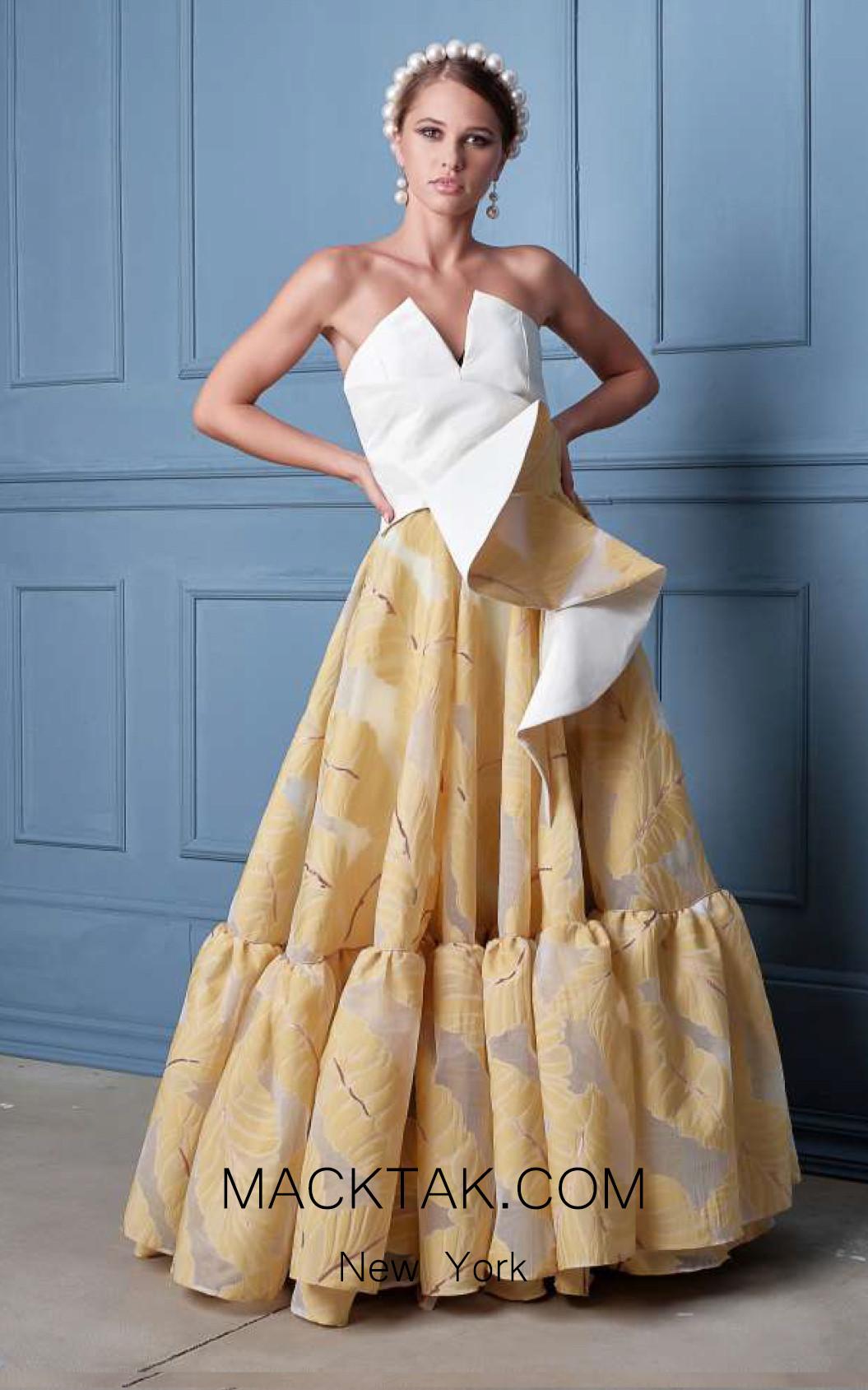 Alda Ciceu NRP SS20-36 Yellow White Front Dress