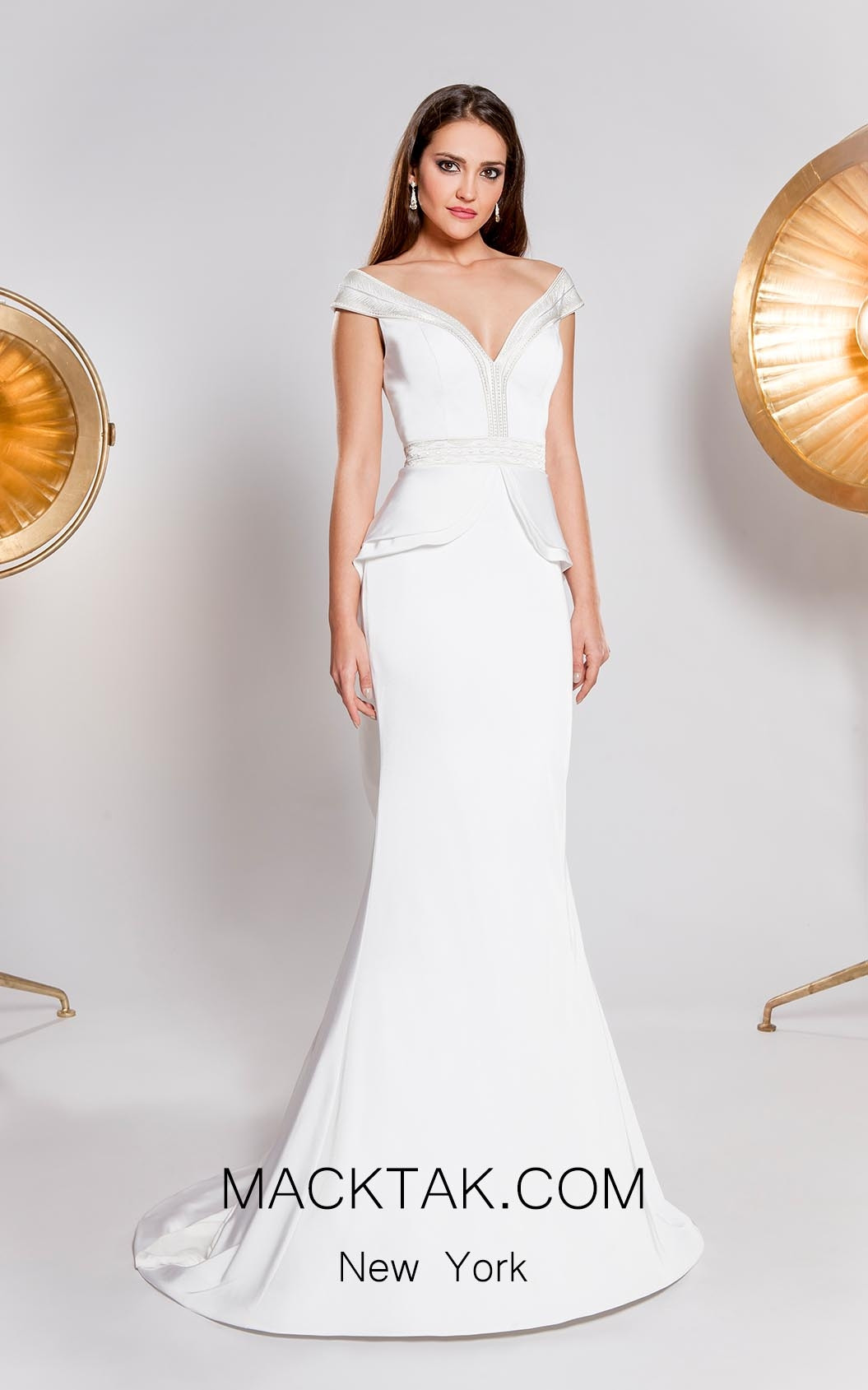 Alma Couture AC1031 Ivory Front Evening Dress