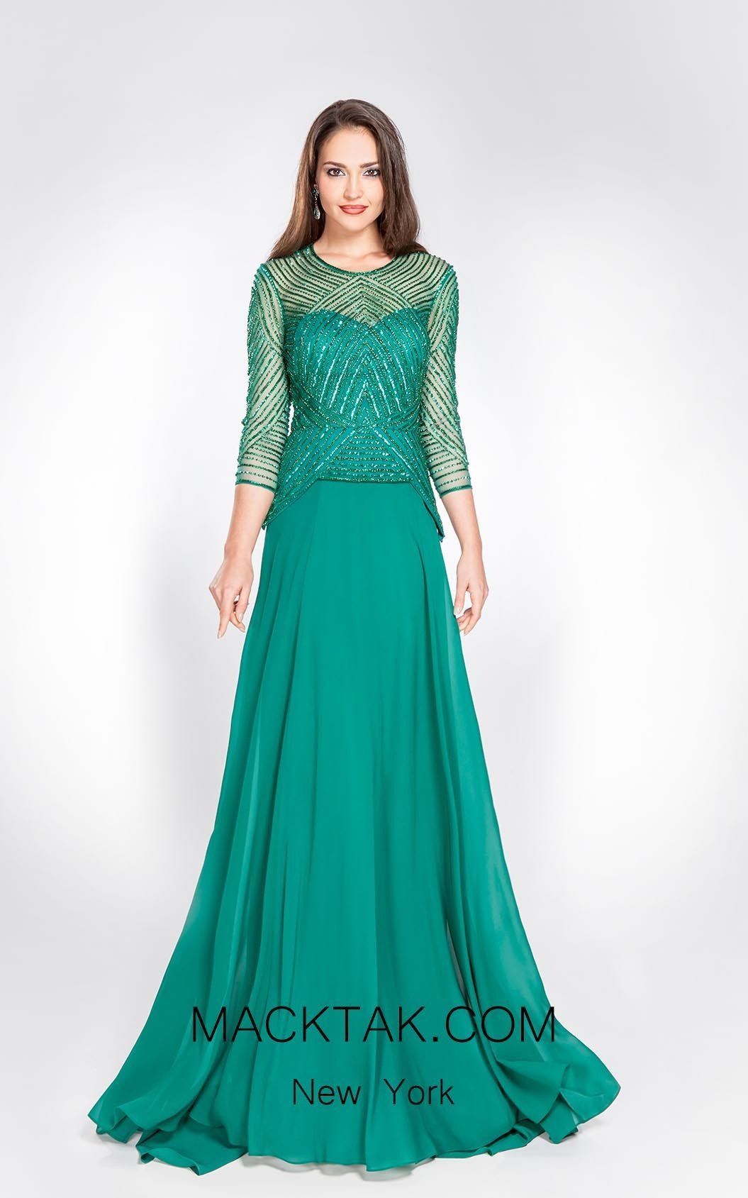 Alma Couture AC1048 Green Front Evening Dress