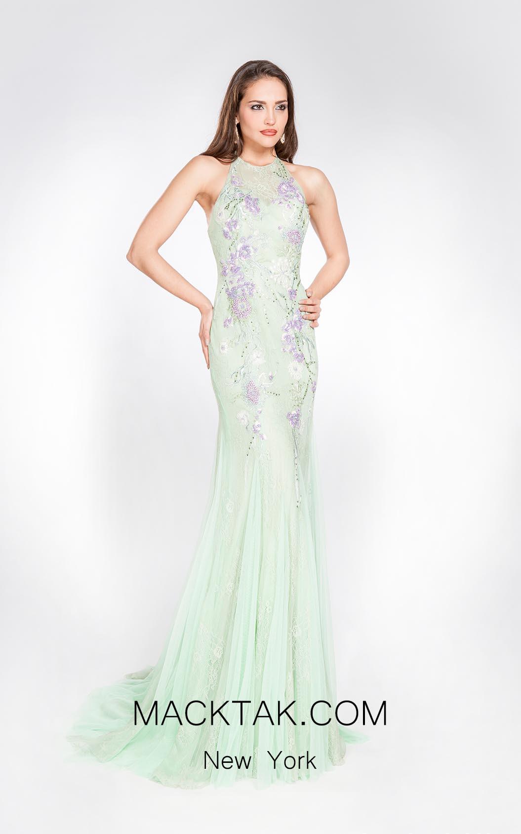 Alma Couture AC1068 Aqua Front Evening Dress