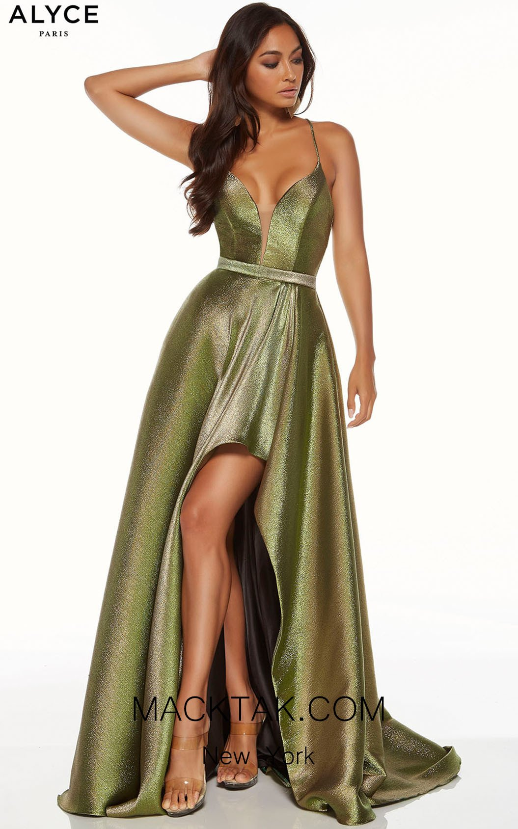 Alyce 60712 Metallic Chartreuse Front Dress