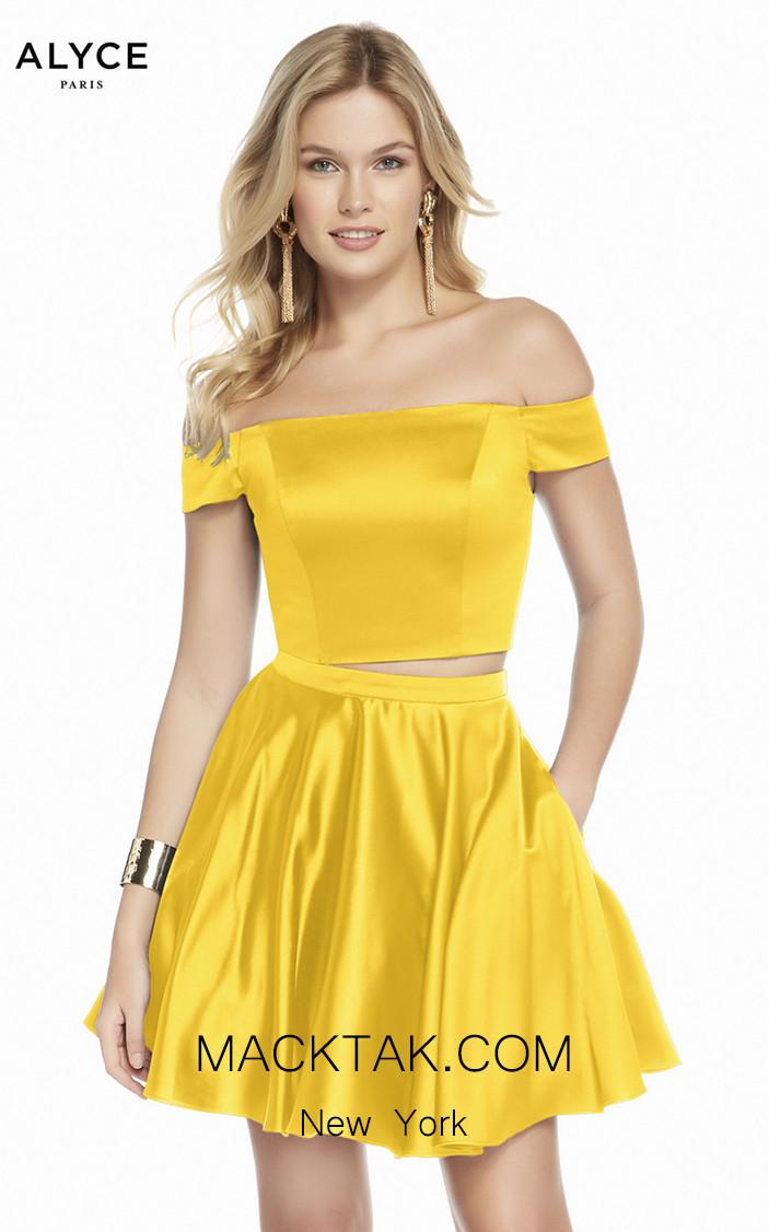 Alyce Paris 1462 Yellow Front Dress