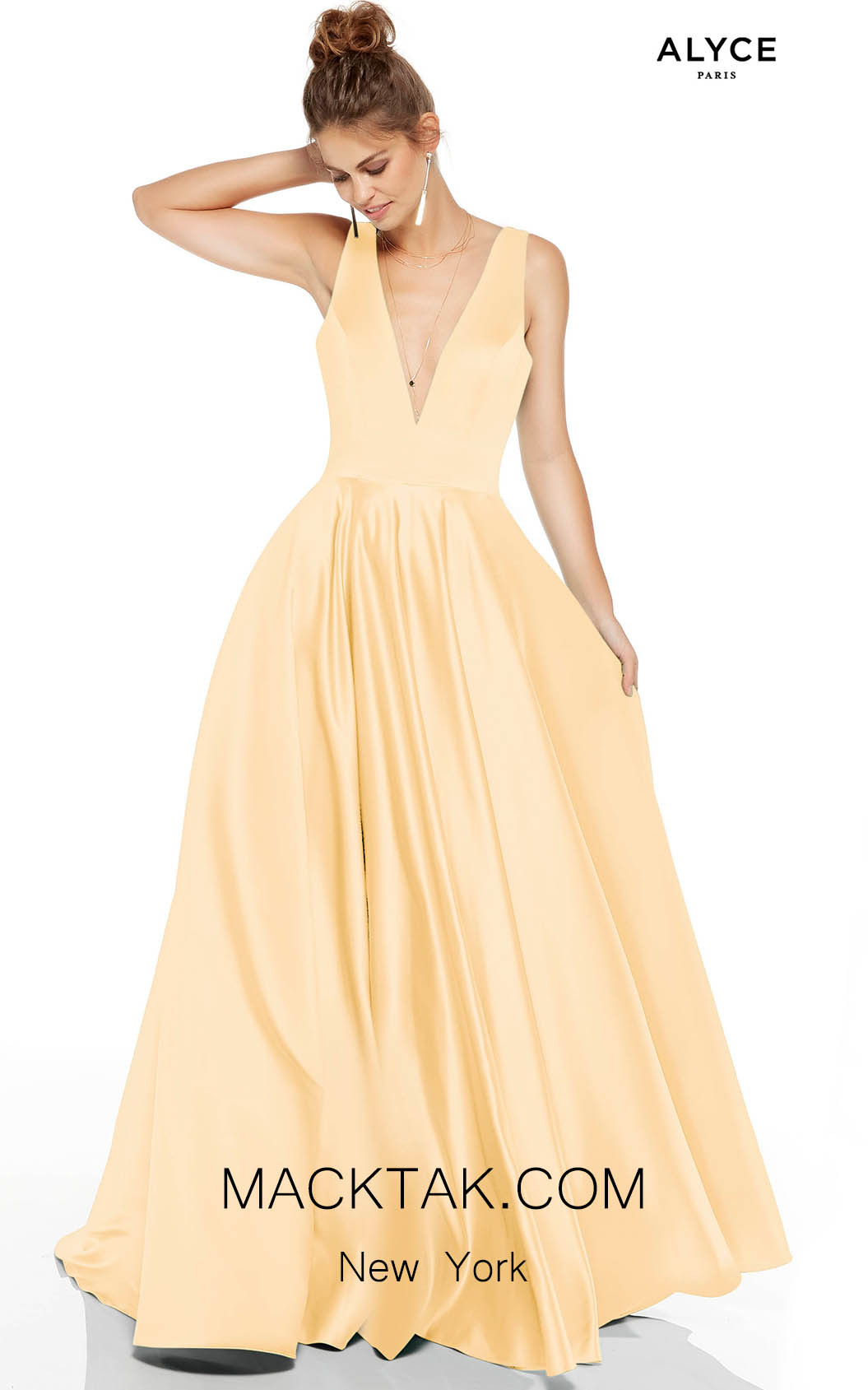 Alyce Paris 60707 Light Yellow Front Dress